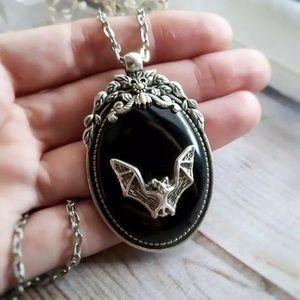 Vampire Bat 🦇 Gothic Cameo Pendant Necklace